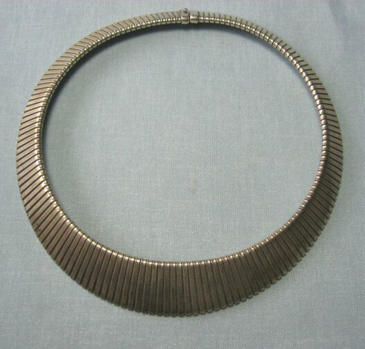 Sterling Silver Accordian Link Necklace  76.5 grams
