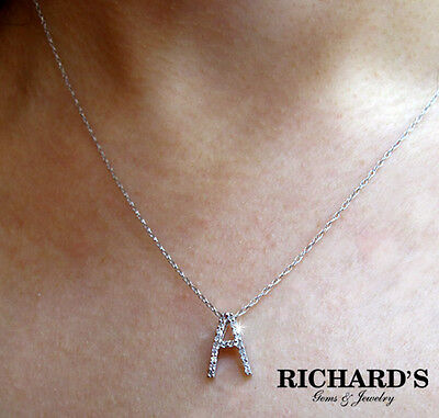 14K WHITE GOLD DIAMOND INITIAL NECKLACE - ALL LETTERS (14k White Gold Diamond Letter)
