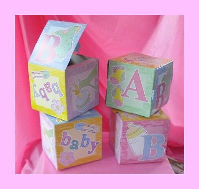 ABC Block Favor for Baby Shower - Set of 6 Large Boxes - Table Decorations](Boxes For Baby Shower)