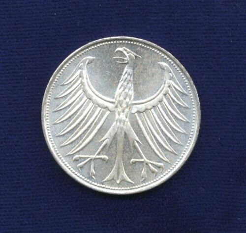 GERMANY  1963-D  5 MARK SILVER COIN, BRILLIANT UNCIRCULATED, MUNICH MINT