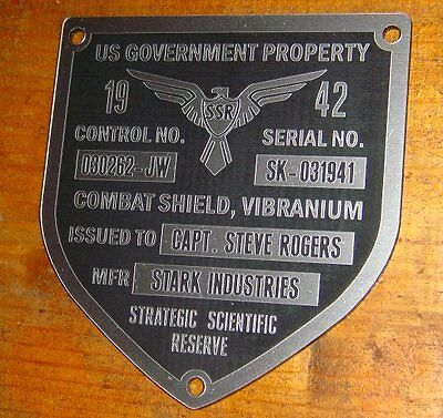 CAPTAIN AMERICA TFA SHIELD SERIAL DATA PLATE PROPERTY TAG PROP (STEEL FINISH)! - Captain America Shields
