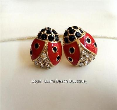 Gold Crystal Ladybug Post Earrings Clear Crystals Red Enamel Plated USA