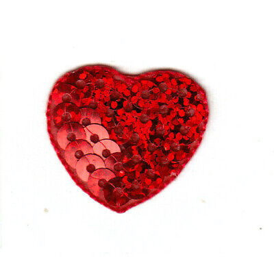 Red Sequin Heart - Red Sequin Heart Small Iron On Patch Valentine Love Hearts
