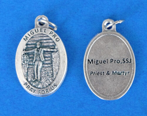 """Blessed Miguel Pro Medal / Miguel Priest and Martyr Oxidized Medal (7/8"""" x5/8"""")"""