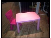 Ikea pink table and chair
