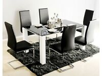 Black and white dinning table
