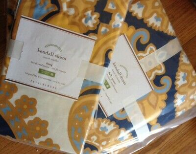 Pottery Barn Kendal Scarf Duvet Cover Blue Yellow Queen 2 Standard Shams Versace