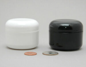 24-WHITE-or-BLACK-1oz-30ml-Plastic-Cosmetic-Double-Wall-Cream-Jars-Containers