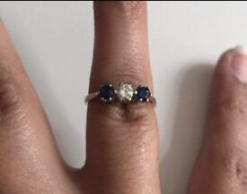 18ct Gold Ring - Sapphire and Diamond