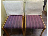 2 Dining Chairs - purple & cream