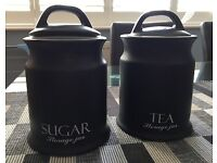 Tea and sugar storage canister jar caddy containers