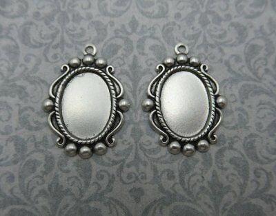 14X10mm Settings - Silver Plated - Vintage Inspired - Cameo Frame Bezel - Qty 4