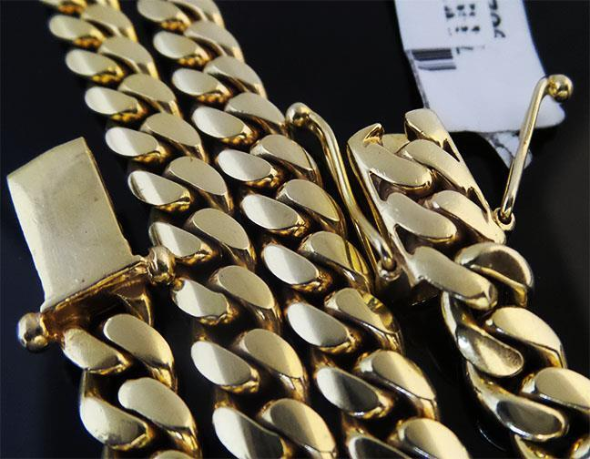 """Mens Hip Hop Yellow Gold Stainless Steel Miami Cuban Link Chain Necklace 30"""""""