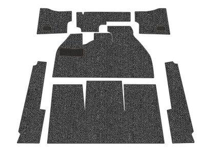 Standard VW Front Carpet Kit, Black Loop, w/ Footrest, Beetle Sedan 1958-1968 ()