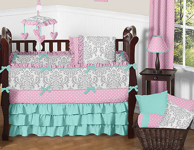 Luxury Turquoise Blue Pink and Gray Damask Polka Dot Baby Girls Crib Bedding Set
