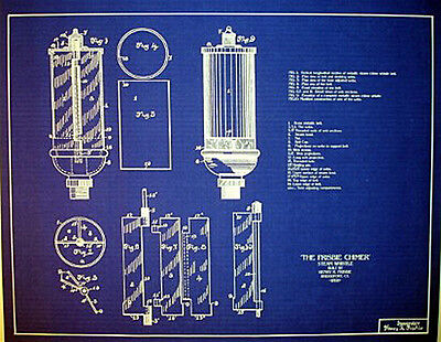 Antique Brass Steam Whistle 1891 Frisbie Chimer blueprint plans 18x24  (205)