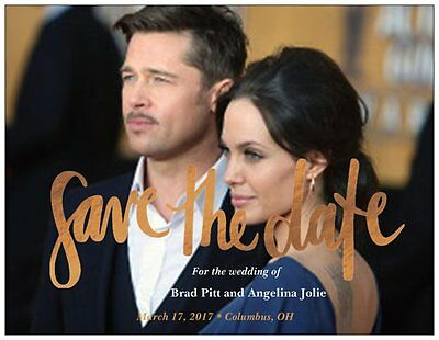 30 50 100 UR Photo Golden Save the DATE MAGNETS & Env CUSTOM