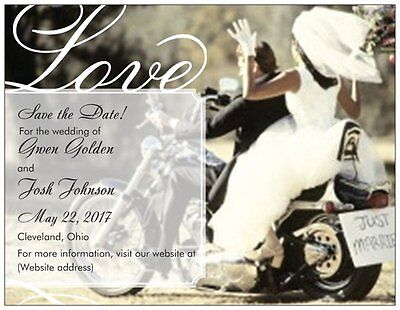 40 Personalized Custom Motorcycle Save the DATE Flat CARDS & Envelopes  - Custom Save The Dates
