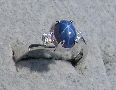 Vintage Linde Lindy Cornflower Blue Star Sapphire Created Ring Rd Plate  925 S S