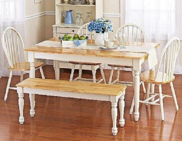 Piece Dining Set Kitchen Farmhouse Table Bench  Windsor Chairs