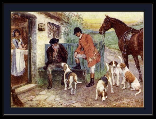 English Print Fox Hound Dog Horse Art Picture