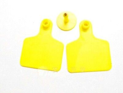 10sets New Yellow 7560mm Sheep Goat Hog Beef Cow Ear Blank Tag Lable
