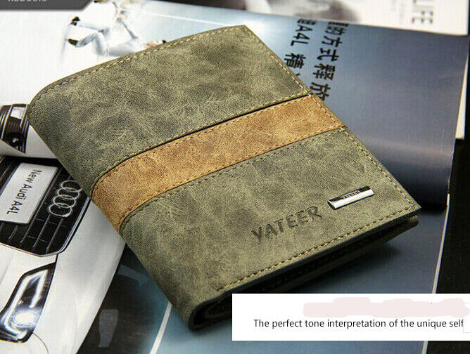 Mens Wallet Leather Purse Credit Card ID Holder Bifold Slim Money Purse Pocket Clothing, Shoes & Accessories