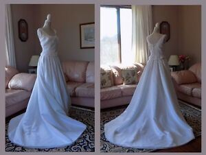 White Wedding Gown with beaded bodice, size 8
