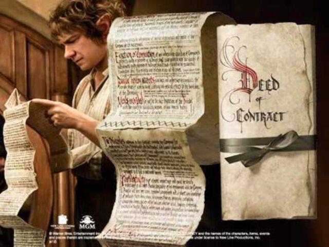 The Hobbit Bilbo Baggins Deed of Contract Authentic Prop Replica Collectible