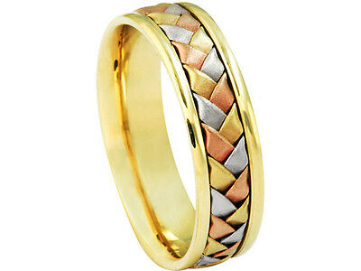 Tricolor 14K White Yellow Rose Gold Wedding Band Woven 6mm Comfort Fit Ring ()