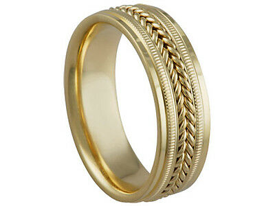 18K Yellow Gold Wedding Band Braided 7mm Comfort Fit Men Women Ring