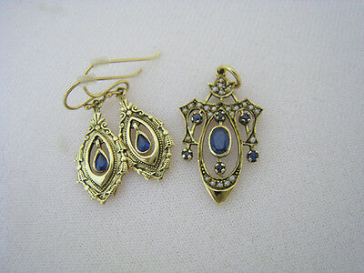 Antique SAPPHIRE & Seed Pearls 9K Gold 375 Pendant & Earrings Set