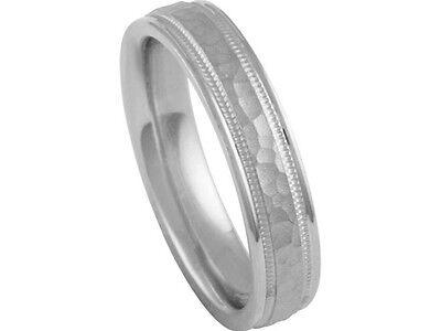 Platinum 950 Wedding Band Hammer Finish 5mm Comfort Fit Wedding Band
