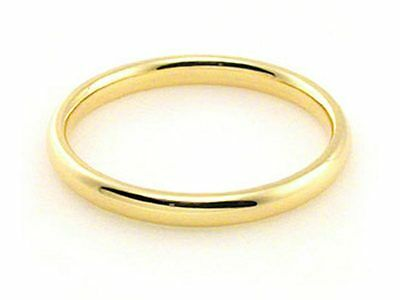 2mm 18K YELLOW GOLD ROUND HIGH POLISH COMFORT FIT WEDDING BAND RING MEN WOMEN