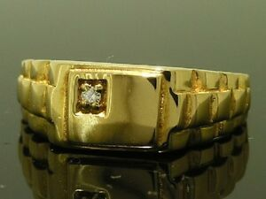 MR012- Genuine 18K SOLID Gold Natural DIAMOND Watch-link Mens Signet Ring size T