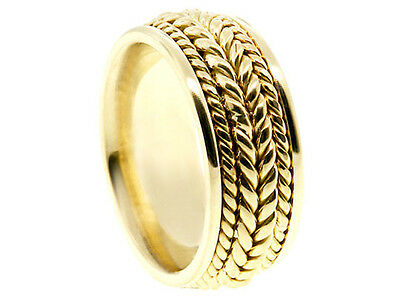 14K Yellow Gold Band Braided 8mm Comfort Fit Ring Men Women Wedding