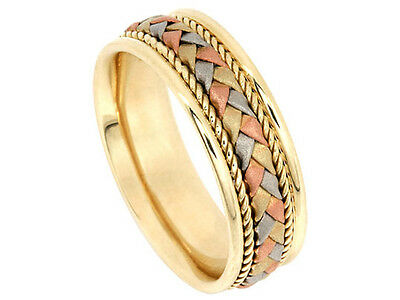 Tricolor 14K White Yellow Rose Gold Wedding Band Braided 7.5mm Comfort Fit Ring ()