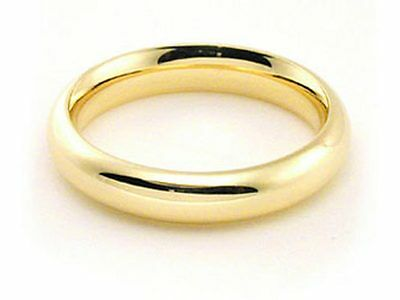4mm Solid Gold Wedding Band (18k yellow Solid Gold Wedding Band 4mm Plain Dome Comfort Fit Ring Mens)