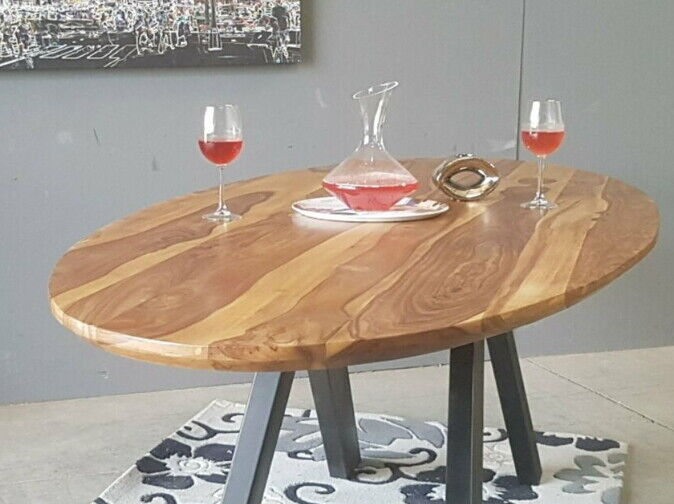 SIT Esstisch 180x100x3,6 cm Sheesham Tischplatte Massiv Oval, V Gestell NEU