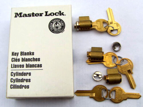 3   MASTER lock  PADLOCK cylinders   with 3 adaptors and  6 key BLANK  M-1