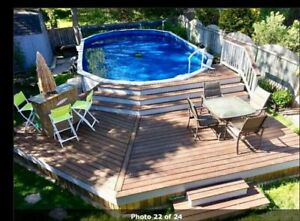 Above ground pool and deck- 10000 L. Buy or trade!
