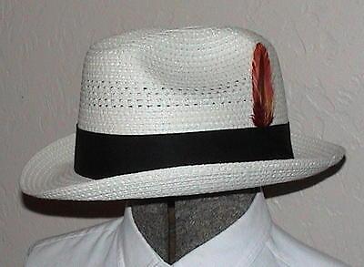 Boys Mens Ladies Straw Hat Saddleseat sz 6-5 8 WHITE d5794eddc3a3