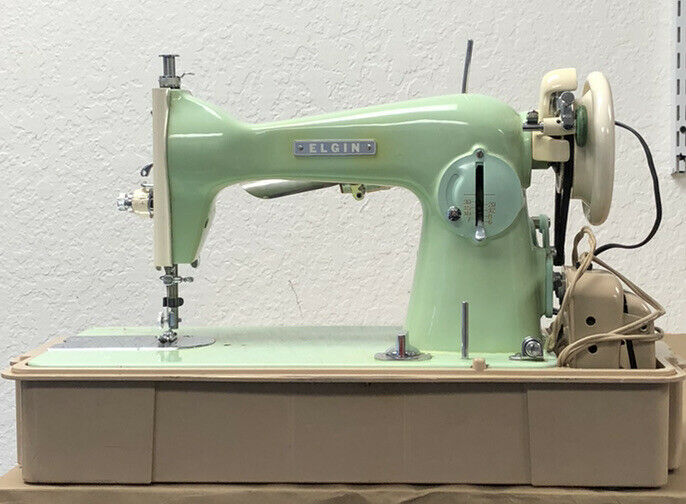 Elgin Antique Sewing Machine Green with Case