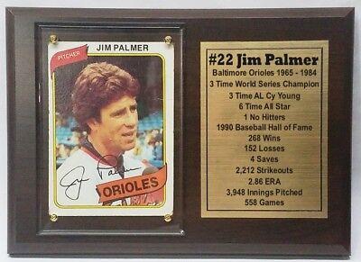 Baltimore Orioles Jim Palmer Baseball Card Plaque