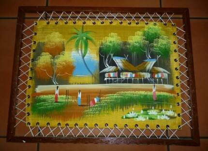 Tropical Painting on Canvas-Oriental Rice Fields. Unusual Frame. Wembley Cambridge Area Preview