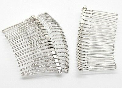 5 Silver Plain Hair Combs Silver Effect 7.8 x 3.8cm Weddings Prom Hair J17122