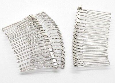 5 Silver Plain Hair Combs Silver Effect 78mm x 38mm Weddings Prom Hair J17122XC