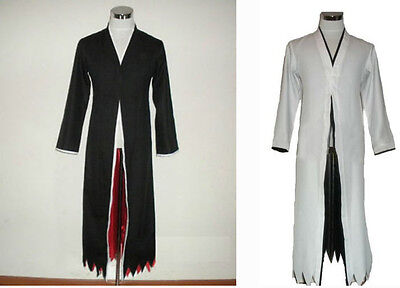 Bleach Kurosaki Ichigo Black Robe Cloak Cosplay Costume Halloween Cloth](Bleach Ichigo Halloween Costumes)