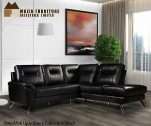 2 PC Black Leather Sectional on Sale (BD-2491)