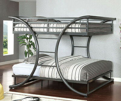 NEW MODERN AXIS GUNMETAL FINISH METAL FULL OVER FULL BUNK BED TEEN FURNITURE